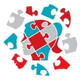 Puzzlespielfrauenkopf-Konzeptpsychologie Lizenzfreie Stockfotos