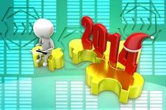 Puzzlespielillustration Weihnachten 2014 des Mannes 3d Lizenzfreie Stockfotos