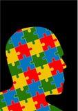 Puzzlespielkopf-Designvektor auf schwarzem Hintergrund Lizenzfreie Stockbilder