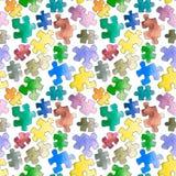 Puzzlespielmuster nahtlos Nahtlose Tapete des Karikaturpuzzlespiels lizenzfreie stockbilder