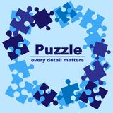 Puzzlespielrahmenblau lizenzfreie stockbilder
