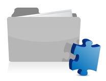 Puzzlespielstück-Dateifaltblatt-Abbildungauslegung Lizenzfreie Stockbilder