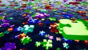 Puzzlespielstück, großer Entwurf zu irgendwelchen Zwecken Puzzlespiele schwimmen über das Wasser KonzeptGeschäftstreffen stock abbildung