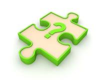 Puzzlespielstück mit Befragungmarkierung Lizenzfreie Stockfotos