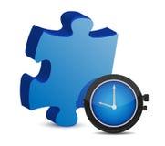 Puzzlespielstück und blaue Uhr Stockfoto