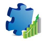 Puzzlespielstück und Geschäftsdiagrammabbildung Stockfotos