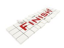 Puzzlespielwürfel mit einer Beschreibung des Endes Stockfoto