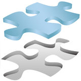 Puzzlestückpassen in Loch auf Weiß Stockfoto