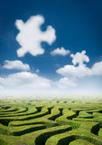 Puzzling Elements. A maze with curious puzzle clouds royalty free stock photos