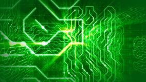 Puzzling Figures In Green Circuit Board. A futuristic 3d rendering of a circular board with labyrinths of yellow stripes, mazes of shining rays, angular objects Royalty Free Illustration