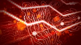 Puzzling Objects In Purple Circuit Board. A futuristic 3d illustration of a circular board with crisscross yellow stripes, mazes of shining beams, angular Vector Illustration