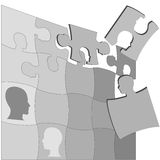 Puzzling People Faces Human Mental Jigsaws Puzzle. The gray areas of a Puzzling People Faces jigsaw puzzle suggests the complexity of mental health and other Stock Photo