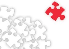 The Puzzling Piece. Puzzle pieces with one standing out from the rest stock illustration