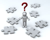 Puzzling Question. Uzzled Figure amongst Jigsaw Pieces. 3D rendered reflective on white background Stock Images