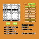 Puzzling words game user interface. Vector UI Stock Images