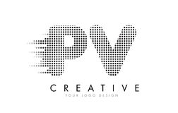 PV P V Letter Logo with Black Dots and Trails. vector illustration