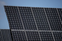 PV solar panels under sky Royalty Free Stock Image