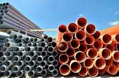 PVC пускает склад по трубам Стоковые Изображения