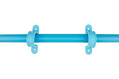 Pvc anchor mounting blue plumbing isolated Stock Photo