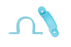 Pvc anchor for mounting plumbing with wall isolated Stock Photography