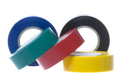 PVC Electrical Tapes Isolated. Isolated image of colourful PVC electrical tapes Royalty Free Stock Photography