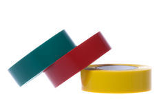 PVC Electrical Tapes Isolated. Isolated image of colourful PVC electrical tapes Royalty Free Stock Photo