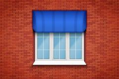 Pvc-fönster med markisen Royaltyfri Foto