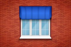 PVC-Fenster mit Markise Lizenzfreies Stockfoto