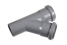 PVC fitting - a draining wye pipe, angle 30 Stock Image