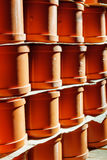 PVC fitting in the warehouse - a draining tee revision pipe Stock Photo
