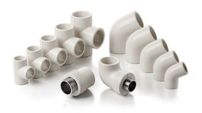 PVC fittings of pipeline isolated on white background stock illustration