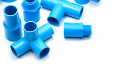 PVC pipe connections and Pipe clip isolated Royalty Free Stock Photos