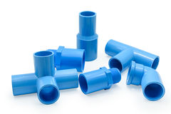 PVC pipe connections and Pipe clip isolated Stock Image