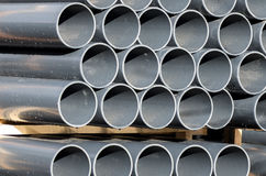 PVC pipe gray. PVC pipes for irrigation system royalty free stock photo