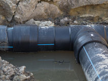 Pvc pipe. On the outdoor waterpipe construction Royalty Free Stock Photos