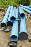 Pvc pipe on site. For upgrade to domestic water supply Royalty Free Stock Photos