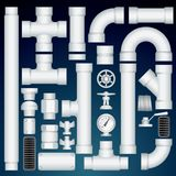 PVC Pipeline Parts. Vector Customizable Kit Stock Photography