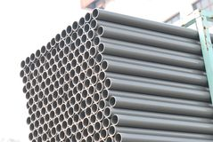 PVC Pipes. A photo taken on a stack of Polyvinyl Chloride pipes Stock Image