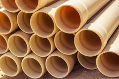 PVC pipes. For the construction of wells. June 2015 royalty free stock image
