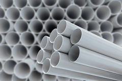 PVC pipes for drinking water. In warehouse Stock Photos