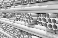 PVC pipes stacked Stock Image