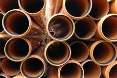 PVC pipes stacked in construction site Stock Images