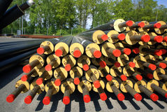 PVC pipes stacked in construction site Stock Image