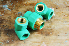 Pvc plumbing fittings and connections. Various pvc plumbing fittings and connections to connect polypropylene tubes used in water distribution systems, bathroom Royalty Free Stock Image