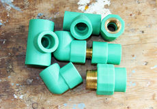 Pvc plumbing fittings and connections Royalty Free Stock Images