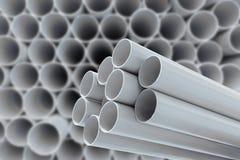 PVC-Rohre für Trinkwasser Stockfotos