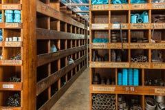 PVC shelves in DIY store Stock Photos