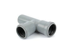 Pvc tee fitting used in water distribution systems Stock Photos