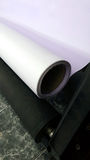 PVC vinyl printed media for large printer. Roll on twin rollers at back of large scale printer. Banner and sign are both popular Royalty Free Stock Photography