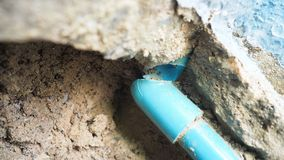 PVC water pipe in the ground is broken and how to step of repair. PVC water pipe in the ground is broken DIY step, Concept is service industry construction royalty free stock image